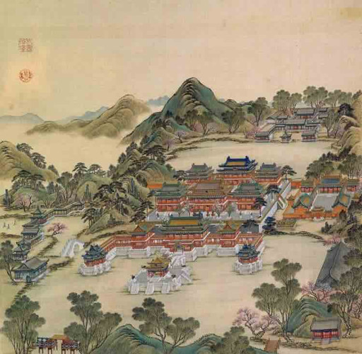 """Part of Court Painting """"Forty Scenes of the Old Summer Palace"""" (Yuan Ming Yuan Si Shi Jing Tu Yong) of the Qing Dynasty 1"""