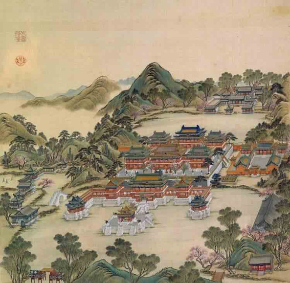 "Part of Court Painting ""Forty Scenes of the Old Summer Palace"" (Yuan Ming Yuan Si Shi Jing Tu Yong) of the Qing Dynasty 1"