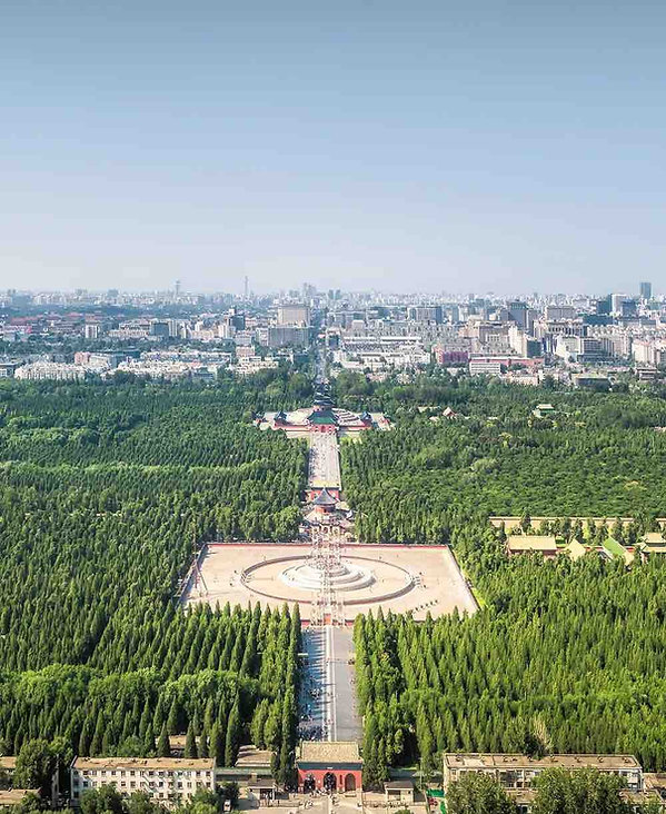 Aerial Photography of Temple of Heaven, the Yuanqiu Altar in the south and Qigu Altar in the north