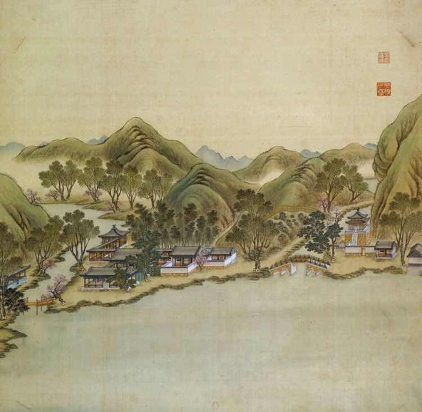 """Part of Court Painting """"Forty Scenes of the Old Summer Palace"""" (Yuan Ming Yuan Si Shi Jing Tu Yong) of the Qing Dynasty 4"""