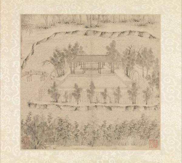 Ruoshu Tang in Wen Zhengming's Painting of Humble Administrator's Garden in 1533, A Main Building in the Original Garden