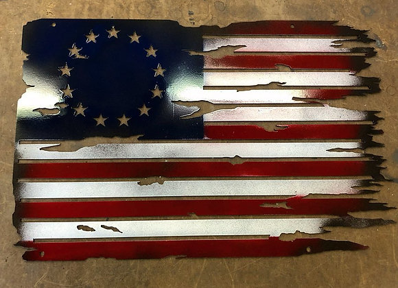Battle Worn U.S. Flag - Betsy Ross
