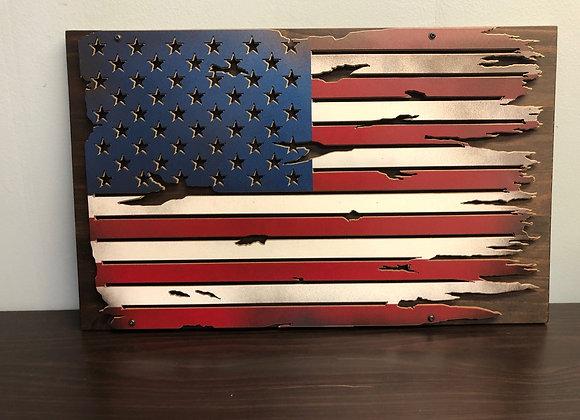 Battle Worn U.S. Flag - Plaque Upgrade
