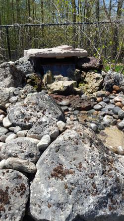 Moss rock water feature