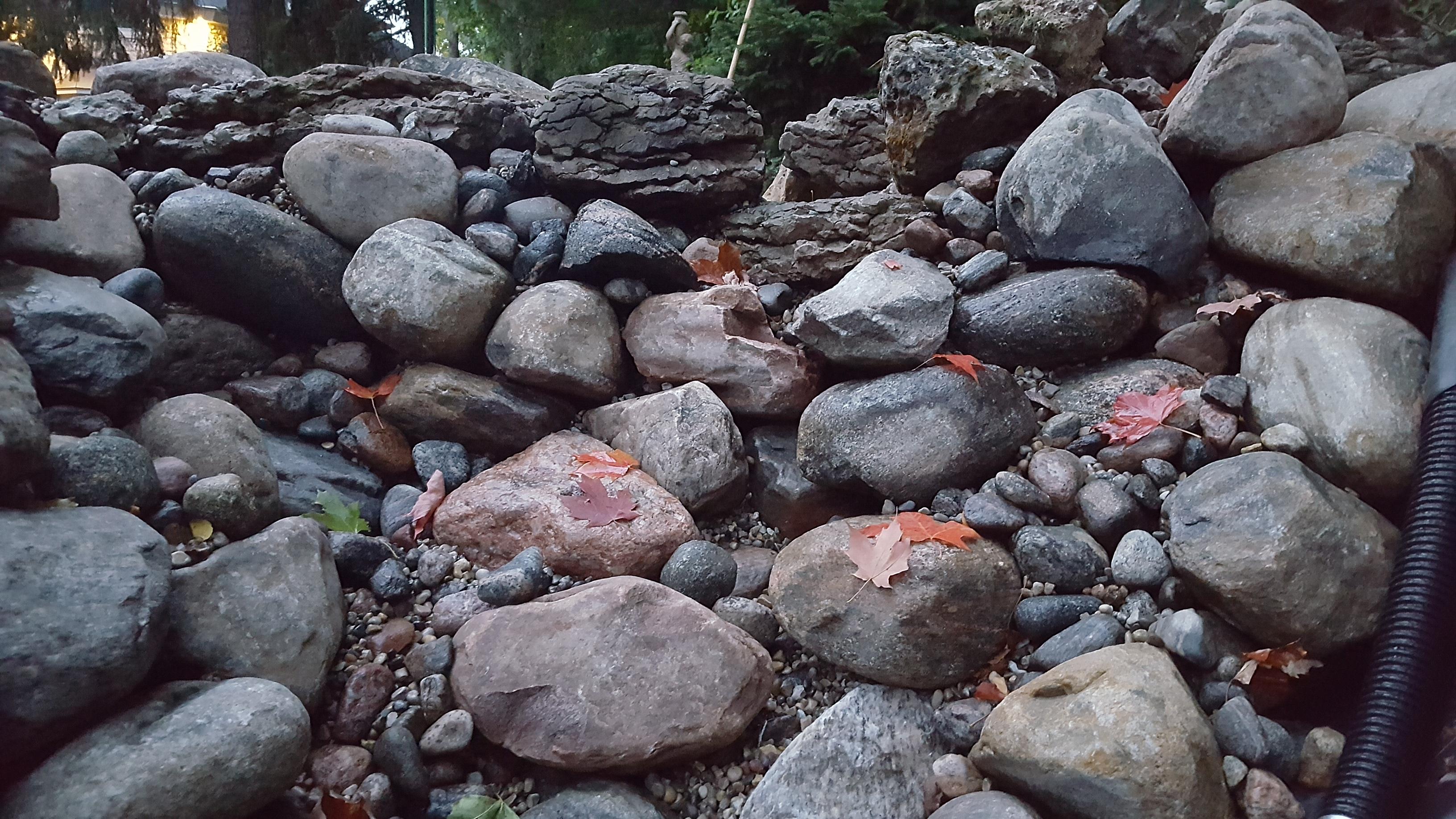 Bog pond rock wall spillway