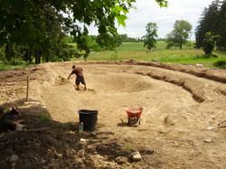 Matt digging shelves in clay