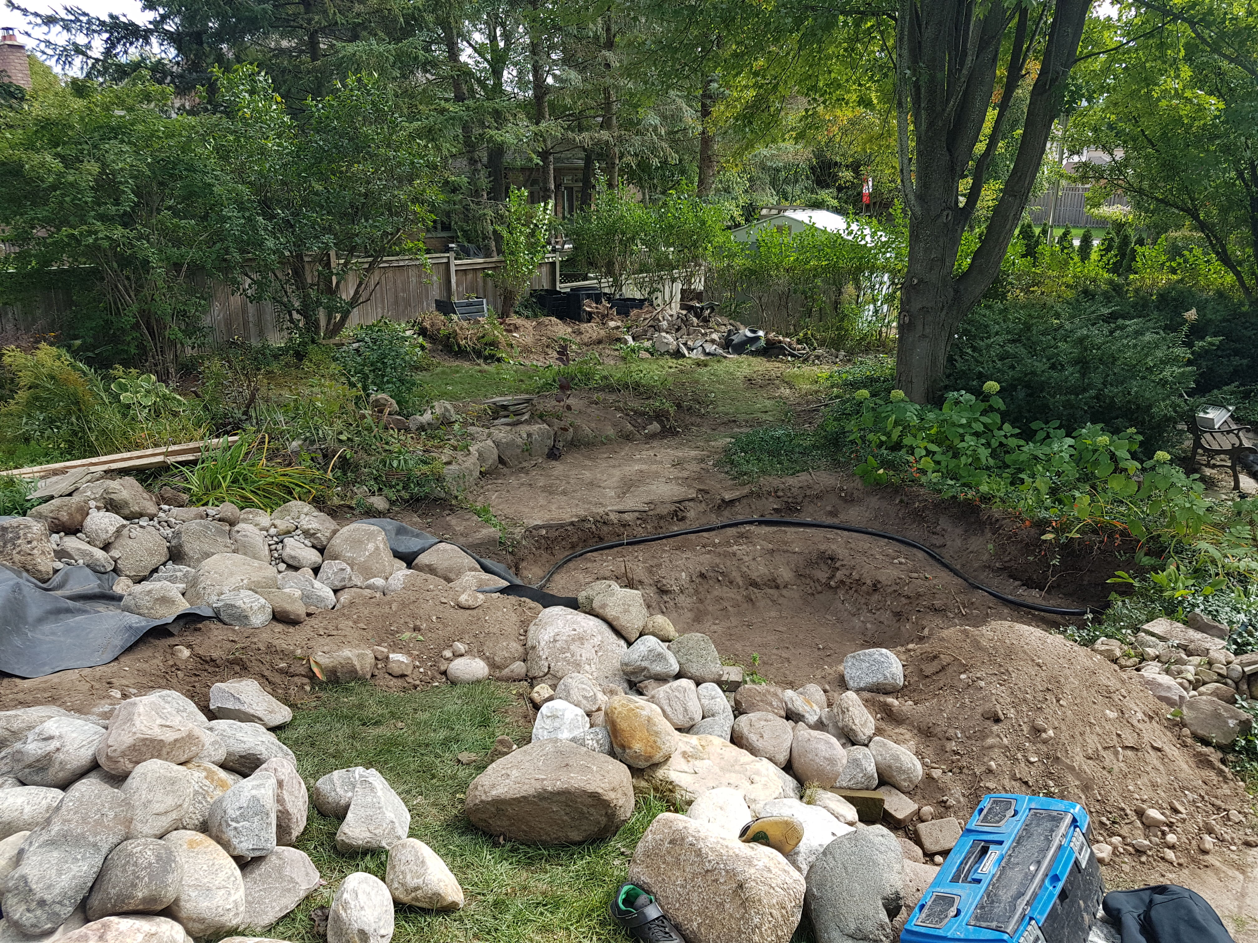 Before we added pond liner