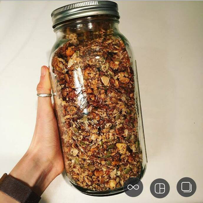 homemade paleo granola in a mason jar