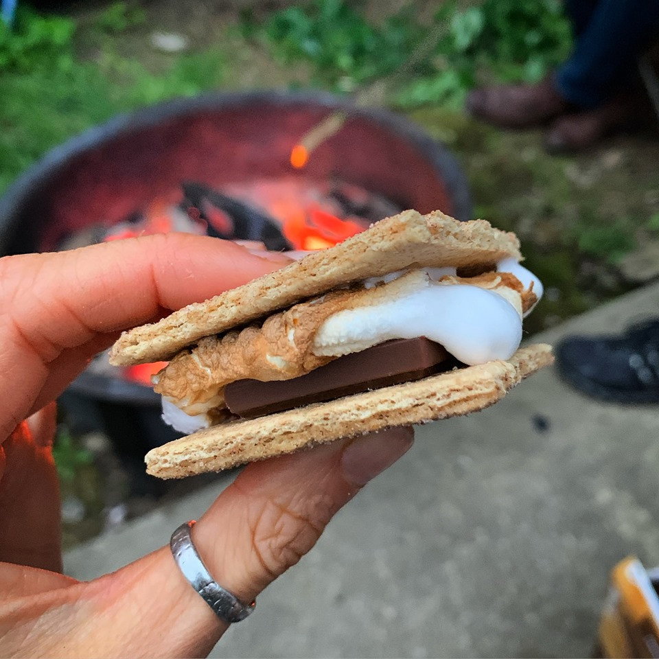 S'mores with almond butter, marshmallow, chocolate on a graham cracker
