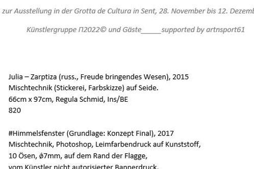 Werkverzeichnis zur Ausstellung sent17