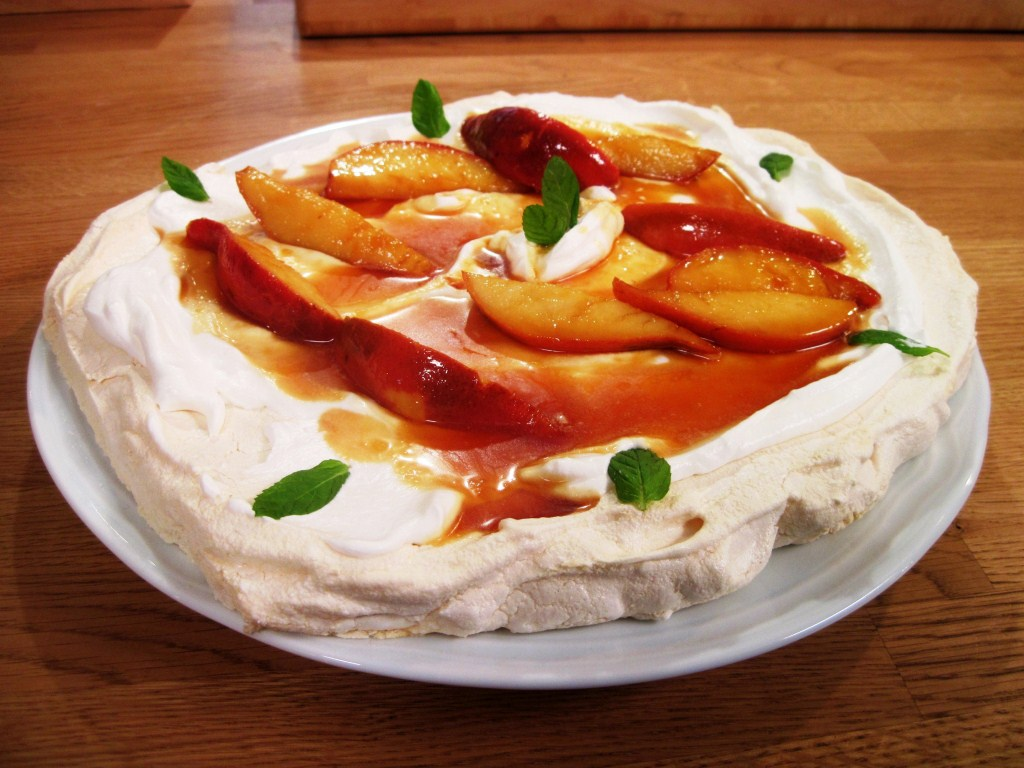 royal pavlova with pears in tofee souce.