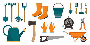 set-of-garden-tools-instrument-icons-for-horticulture-rake-shovel-watering-equipment-sciss