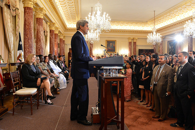 U.S. Secretary of State John Kerry delivers remarks at the 2016 Trafficking in Persons (TIP) Report Launch Ceremony at the U.S. Department of State in Washington, D.C., on June 30, 2016. [State Department Photo/ Public Domain]