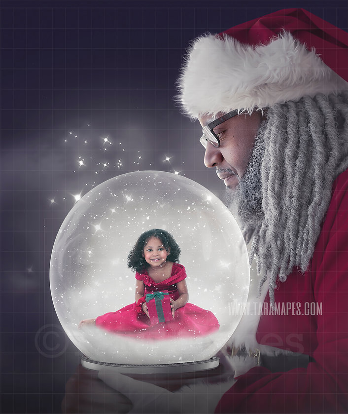 Black Santa Holding Snow Globe Tara Mape