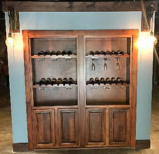 Hidden double wine glass door