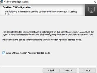 Instalando o recurso de Remote Desktop Services - Session Host - VMware Horizon Agent