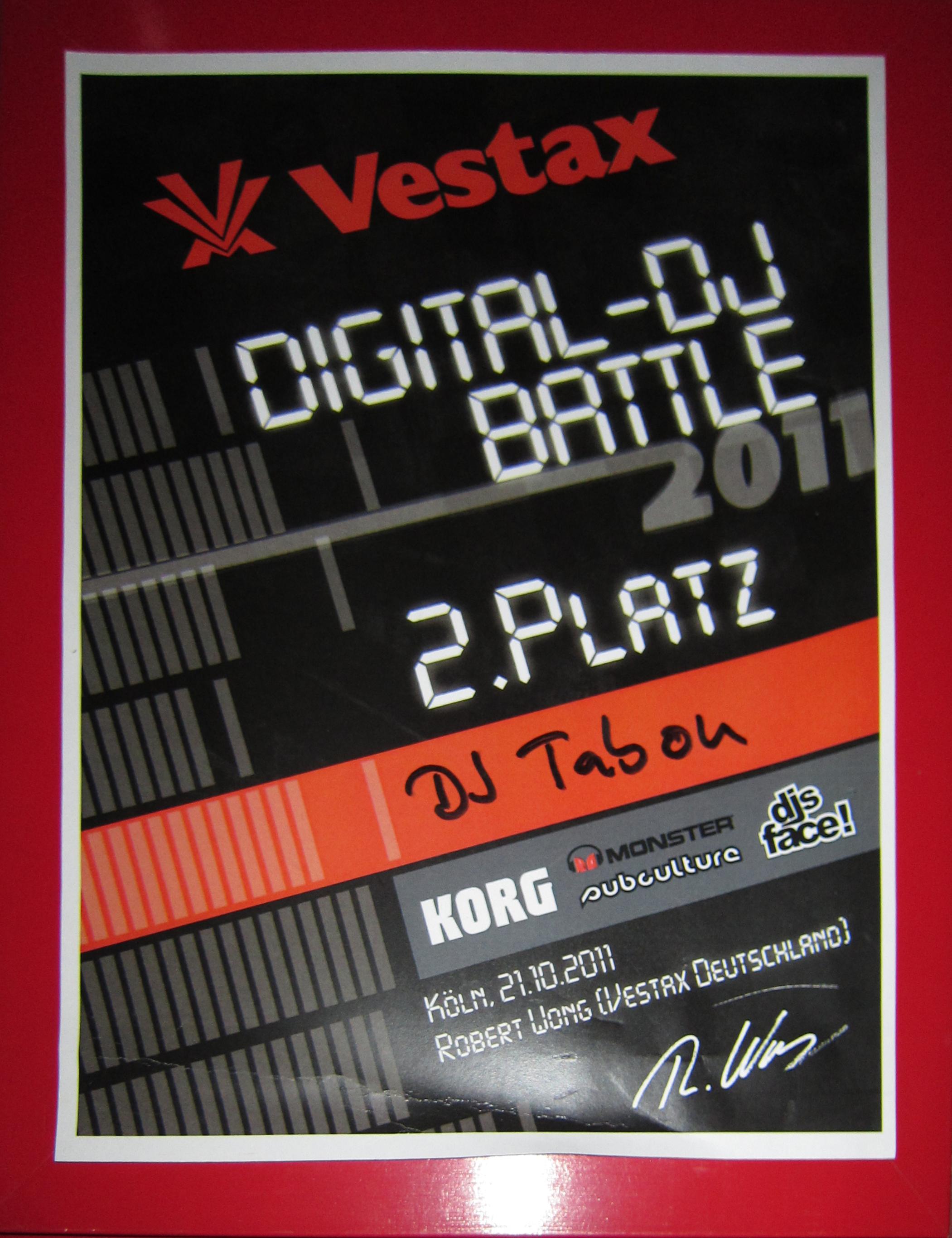 Vestax DJ Battle 2.Platz 2011.jpg