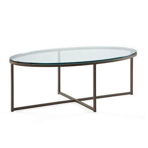 Jon Oval Cocktail Table with Glass Top