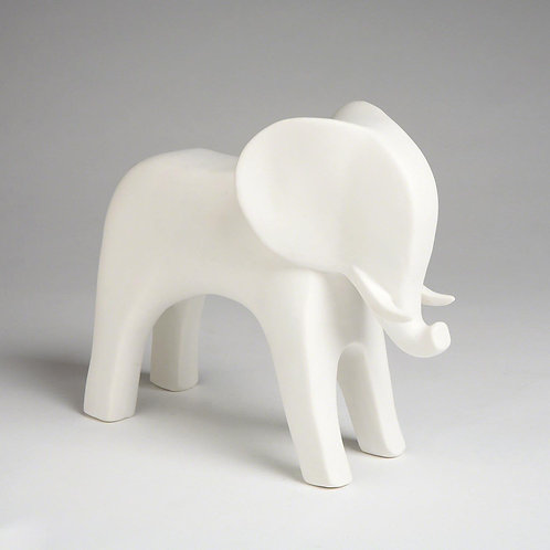 Ceramic Elephant - Matte White