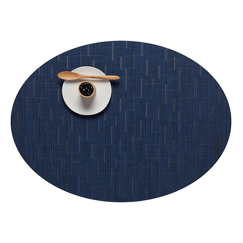 """Chilewich """"Bamboo"""" Oval Placemat in Lapis"""