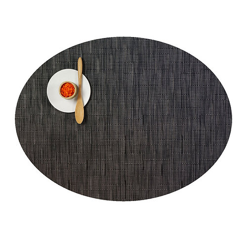 """Chilewich """"Bamboo"""" Oval Placemat in Smoke"""