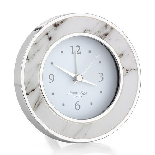 White Faux Marble Alarm Clock