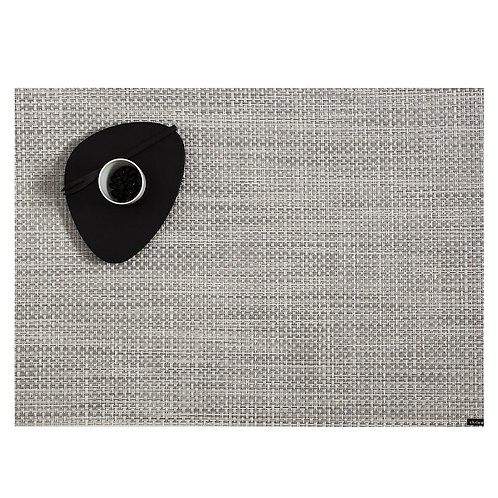"""Chilewich """"Basketweave"""" Placemat in White-Silver"""