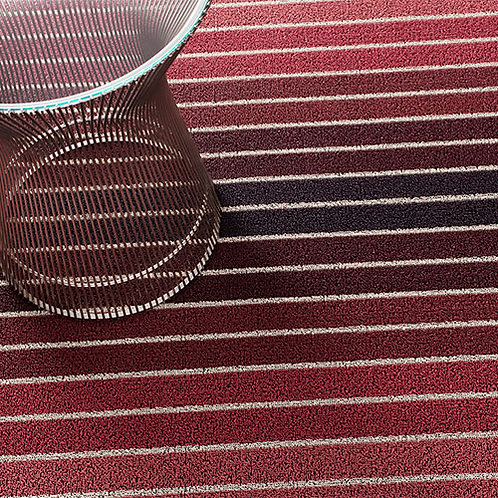 "Chilewich ""Block Stripe Shag"" Mat in Cranberry"