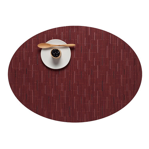 "Chilewich ""Bamboo"" Oval Placemat in Cranberry"