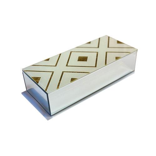 Golden Diamond Glass Keepsake Box