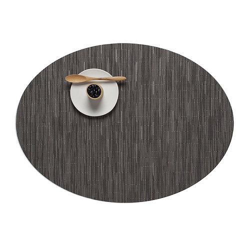 "Chilewich ""Bamboo"" Oval Placemat in Grey Flannel"