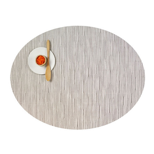 """Chilewich """"Bamboo"""" Oval Placemat in Chalk"""