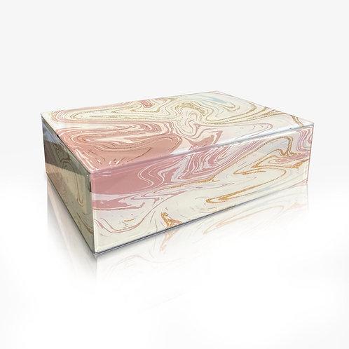 Pink Marbleized Glass Keepsake Box