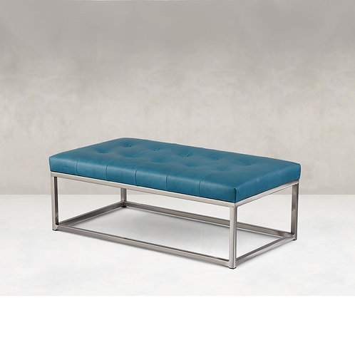 Box Rectangle Ottoman with Metal Base