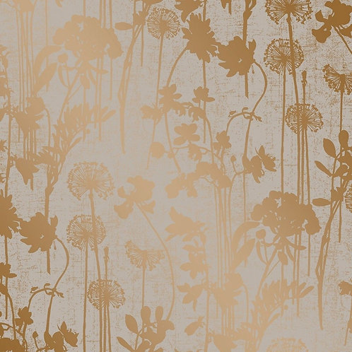 Tempaper Wallpaper - Distressed Floral in Grey-Copper