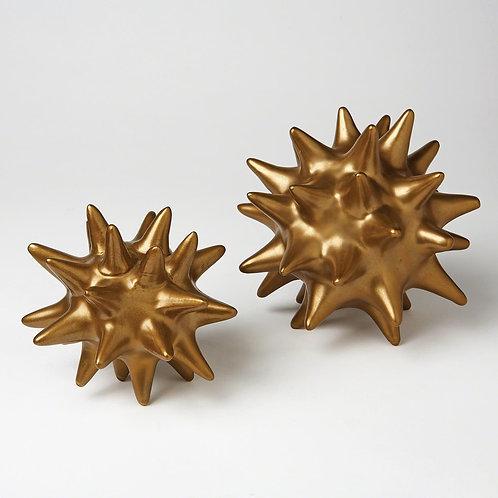 Ceramic Urchin Object - Antique Gold