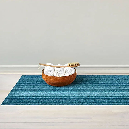 """Chilewich """"Skinny Stripe Shag"""" Mat in Turquoise"""