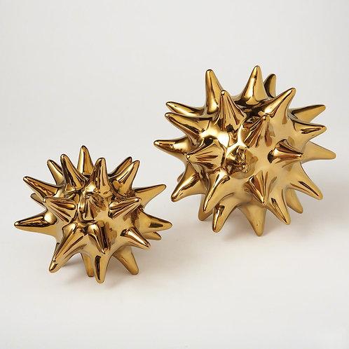 Ceramic Urchin Object - Bright Gold