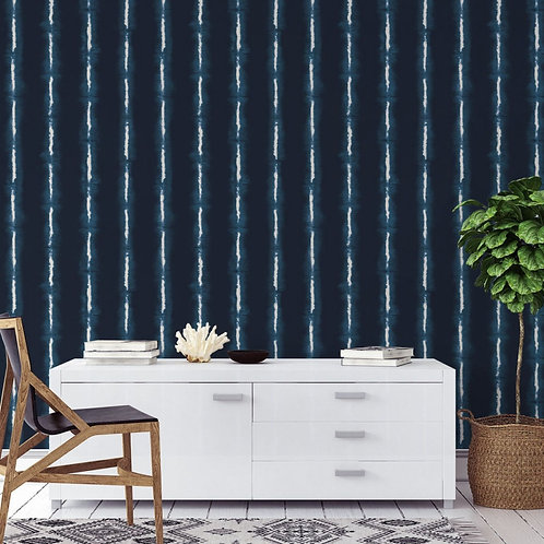 Tempaper Wallpaper - Shibori Lines Indigo