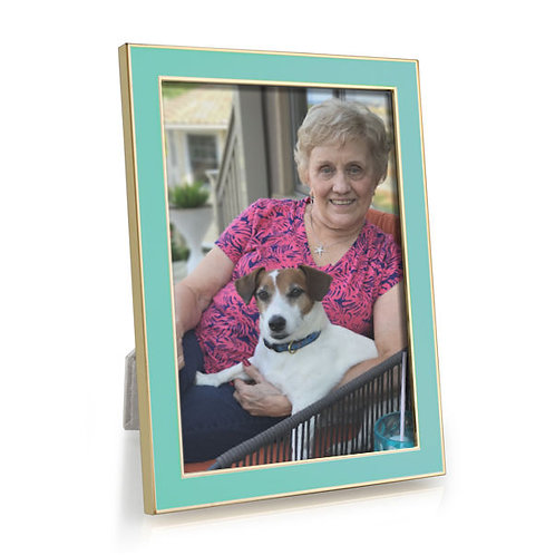 Enamel Picture Frame - Pastel Blue with Gold Trim