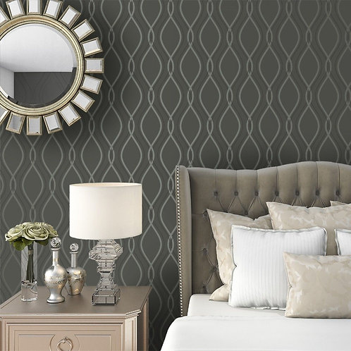 Tempaper Wallpaper - Teardrop in Charcoal-Metallic Silver