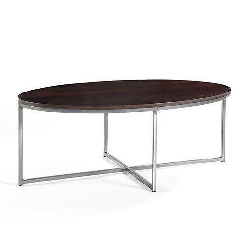 Jon Oval Cocktail Table with Wood Top