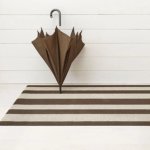 """Chilewich """"Bold Stripes"""" Shag Mat in Pebble"""