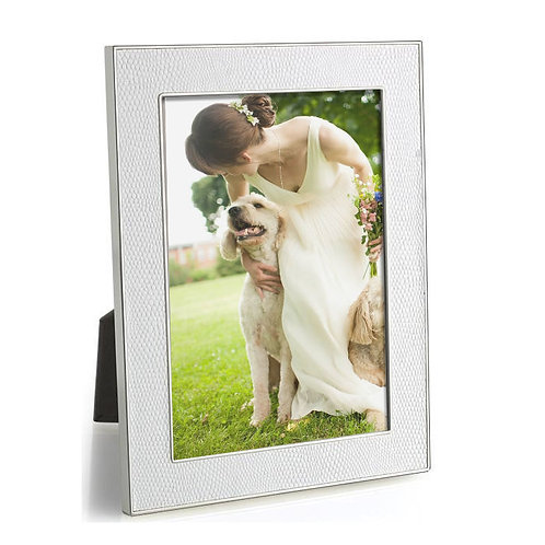 Faux Snakeskin Picture Frame - White with Silver Trim