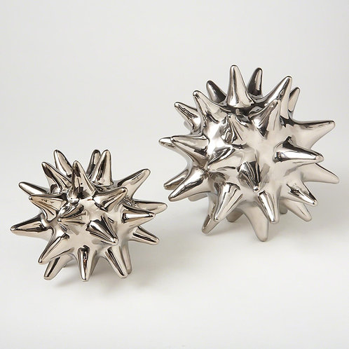 Ceramic Urchin Object - Bright Silver
