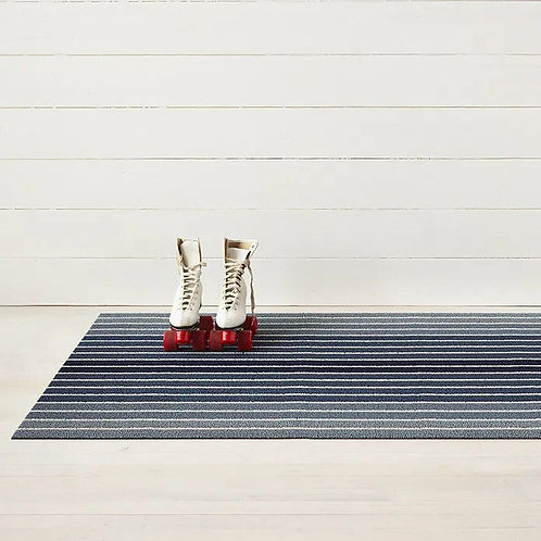 "Chilewich ""Block Stripe Shag"" Mat in Denim"