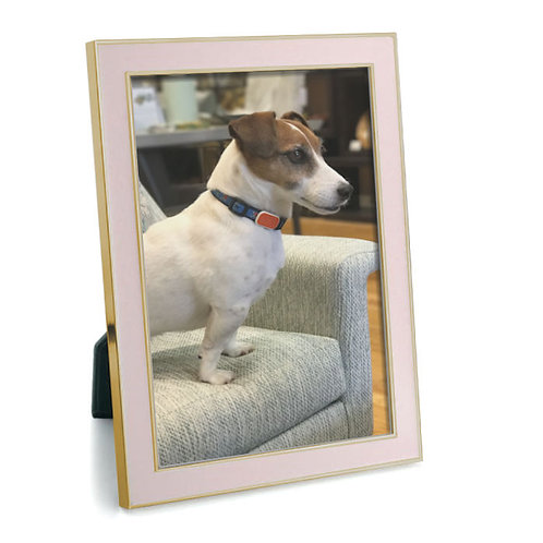 Enamel Picture Frame - Pastel Pink with Gold Trim
