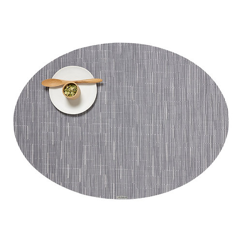 """Chilewich """"Bamboo"""" Oval Placemat in Grey Fog"""