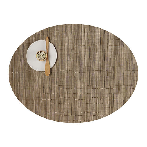 """Chilewich """"Bamboo"""" Oval Placemat in Camel"""
