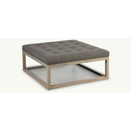 Box Square Ottoman with Wood Base